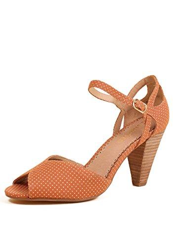 Restricted Dancing Dots Cutout Ankle Strap Peep Toe Pumps (9, Mauve Pink) ()