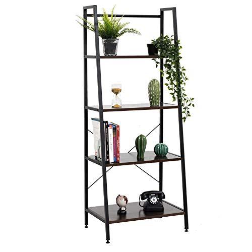 Bestier Ladder Shelf 4 Tier Bookshelf Metal and Wood Bookcase Home Storage Rack Display Shelf Accent Furniture for Office, Bedroom, Living Room Brown (Best Wood To Make A Ladder)