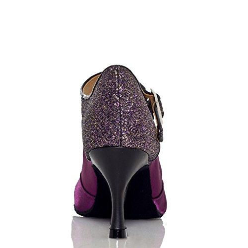 Bracelet violet Violet danse latine nbsp;seul Femme Taogo satin en piste pour Dance Minitoo Th011 Sandales de mariage ZtvqwnTwax
