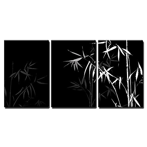 (wall26 - 3 Piece Canvas Wall Art - Vector - White Bamboo Branches Imprint on Black Background - Modern Home Decor Stretched and Framed Ready to Hang - 24