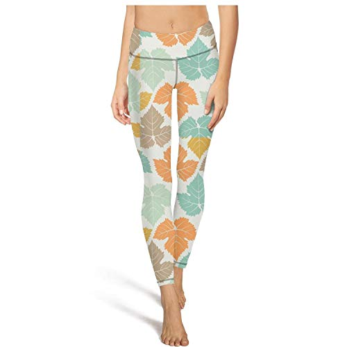 Ukjdahff High Waisted Yoga Pants for Womens Colorful Maple Leaves Canada Summer Girls Stretchy Legging Sport