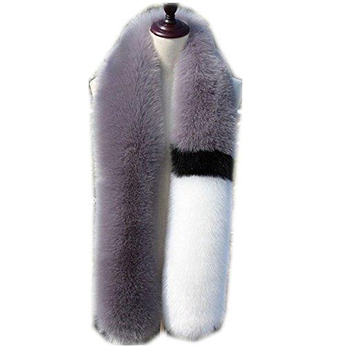 Qmfur Men Women Winter Warm Real Fox Raccoon Fur Collar Stole Long Scarf Shawl (gray) by qmfur