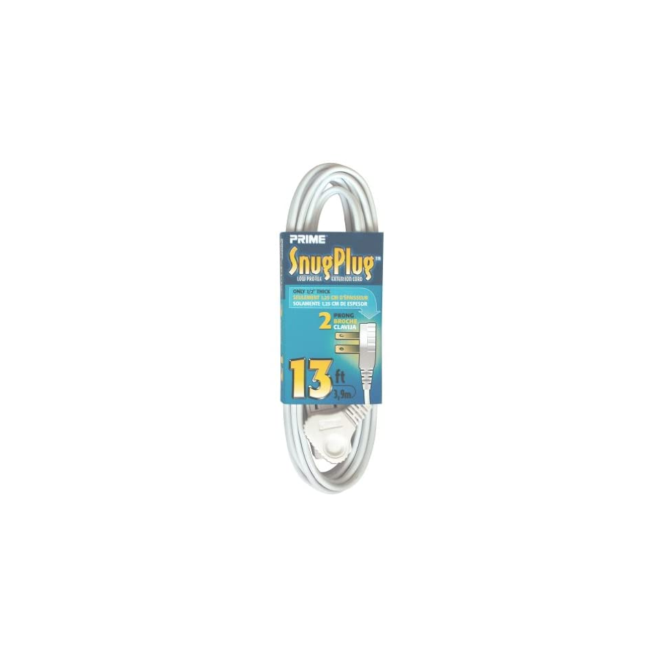 Prime Wire & Cable EC920613 13 Foot 16/2 SPT 2 3 Outlet Cord, White