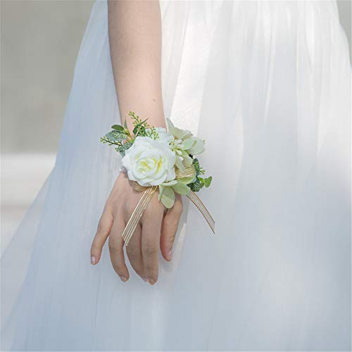 YINGYOUYHD Hand-Married Bride and Groom Wrist Flower Bridesmaid Little Fresh Sen Wedding Green Hydrangea Wrist Flower White