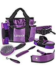 LoHKKo Horse Grooming Kit. 7-Piece. Organizer Tote Bag, Tack Room Supplies Set, Assorted Hair and Curry Brushes, Hoof Pick, Sweat Scraper. Great Gift for Horse Riders, Beginners, Advanced. Burgandy