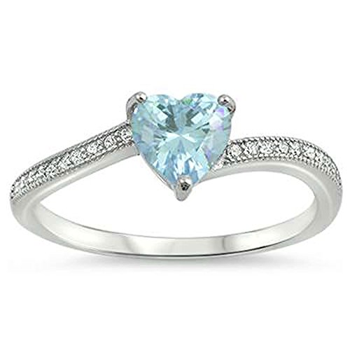 Oxford Diamond Co Heart Shaped Simulated Aquamarine Cubic Zirconia .925 Sterling Silver Ring Sizes 7