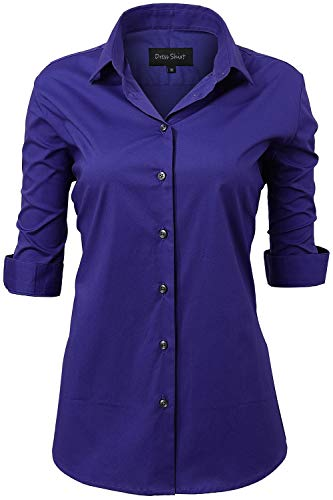 Harrms Button Up Shirts Female Formal Work Wear Uniform Office Royal Blue Shirts Size 10