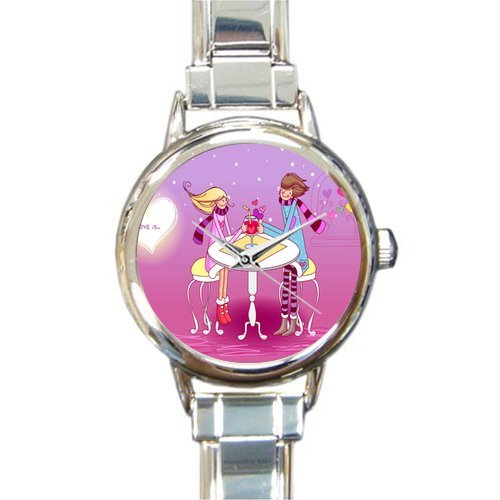 Valentine's Day Gift Watch Awesome Valentine's Day Kiss Pattern Round Italian Charm stainless steel Watch