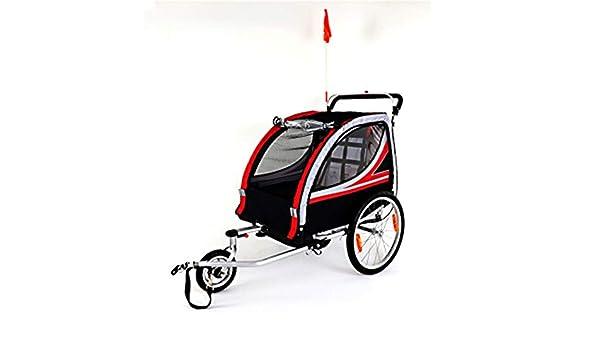 Remolque bicicleta de niño Doble asiento plegable Detrás de Ellos remolques de bicicletas, se convierte en basculador del cochecito, cuenta con dosel 2-en-1 y ruedas de 20 pulgadas, for los niños y
