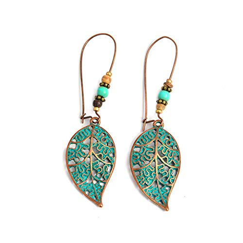 Rurah Earrings Leaf Beads Ear Hook Earrings Openwork Blue Leaves Bead Earrings Exaggerated Vintage Earrings Girl Gift,Blue