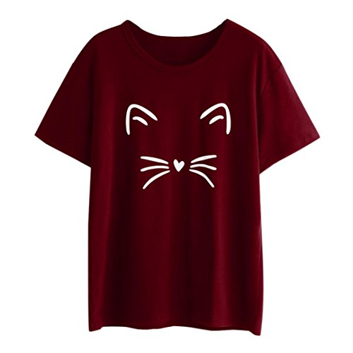 Price comparison product image Pervobs T-Shirt,  Big Promotion! Women Fashion Casual Short Sleeve O-Neck Cat Printed Causal Blouse Tops T-Shirt (XL,  Wine)