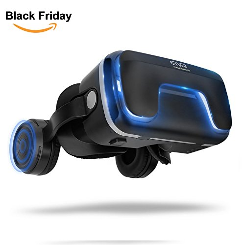 """3D Virtual Reality Headset with Remote Controller for 3D Movies and Games - VR Headset with Stereo Headphones and Adjustable Straps between 4.7 - 6 """" Smartphones (Black)"""