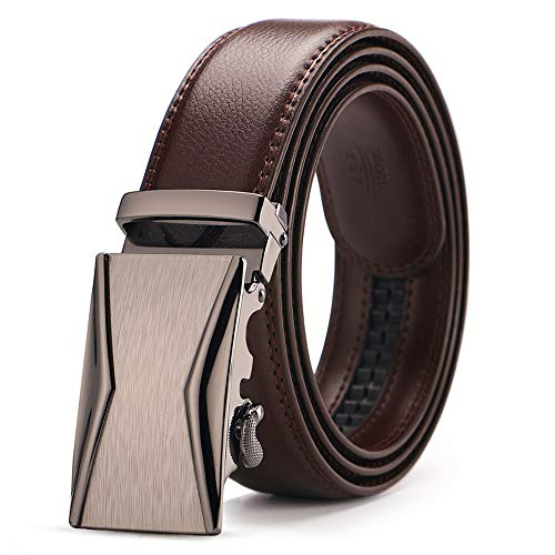 Men's Brand Genuine Leather Belt Brown Automatic Buckle Size 110-130 Cm Waist Strap Business Cintos ()