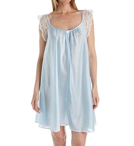 Amanda Rich Lace Cap Knee Length Gown (106-SH) XL/Blue Amanda Knee Length Nightgown