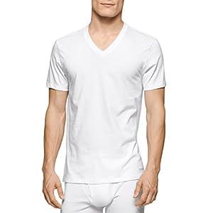 Calvin Klein Men's Undershirts Cotton Classics 3 Pack V Neck Tshirts, White, Large