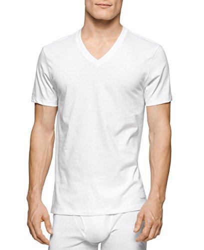Calvin Klein Men's Cotton Classics Short Sleeve V-neck T-shirt, White-3 Pk, Medium