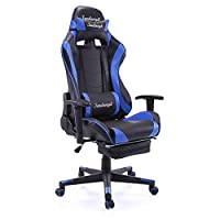 JAXPETY 360 Degree Swive Blue High Back Swivel Computer Chair Racing Chair Gaming Chair H w/Headrest & Lumbar Support