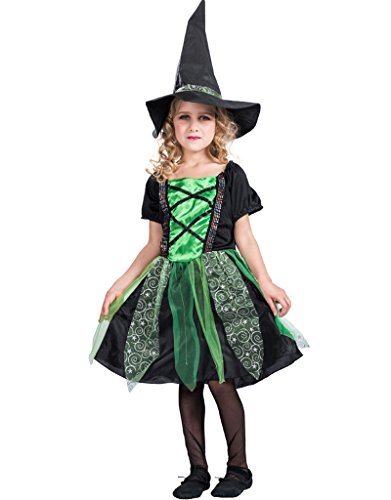 Green Witch Costumes (EraSpooky Girl's Fairytale Classic Halloween Witch Costume(Green, Medium))