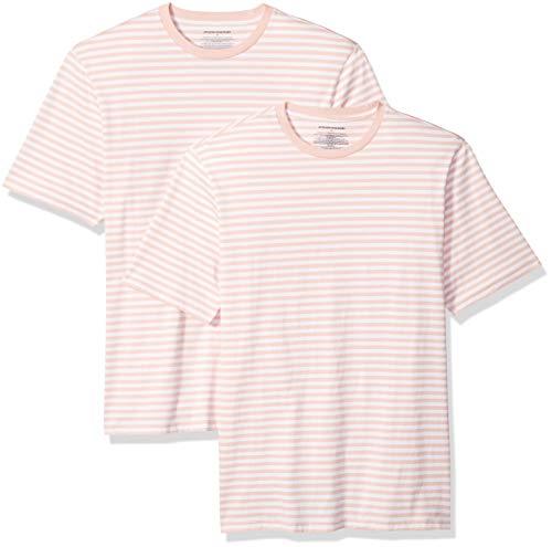 Amazon Essentials Men's Loose-Fit Short-Sleeve Stripe Crewneck T-Shirts, Pink/White, - Pink Shirt Stripe