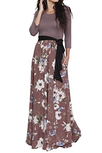 FISACE Womens Floral Tie Waist Striped Patchwork Maxi Dress 3/4 Sleeve Side Pocket Long Dress Coffee