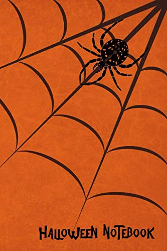 Halloween Notebook: Orange Spider Web, Kids College Ruled Lined Pages Composition Book (6x9,140 -