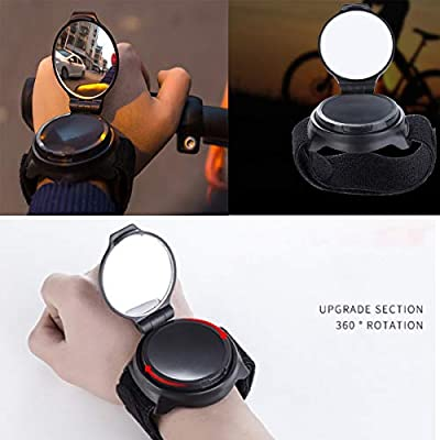 DEALPEAK 360 Degree Rotate Bicycle Rearview Mirror Safety Riding Wristband Bike Rearview Mirror Wrist Strap Bike Accessories