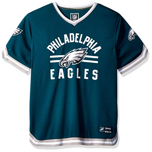 Icer Brands NFL Philadelphia Eagles Men's Jersey T-Shirt V-Neck Mesh Stripe Tee Shirt, X-Large, Green