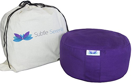 Subtle Serenity's Premium Meditation Cushion - Buckwheat Filled Zafu Yoga Meditation Bolster Pillow - 3 Colors