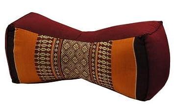 Kapok Thaikissen, Yogakissen, Massagekissen, Kopfkissen, Tantrakissen, Sitzkissen - Braun/Orange (Kissen mit drei Auflagen XXL 79x53x46 (81118)) Wilai