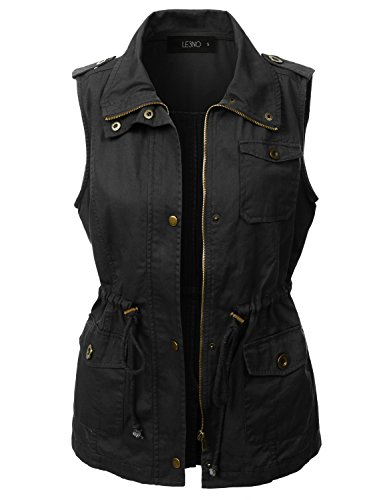 LE3NO Womens Lightweight Sleeveless Military