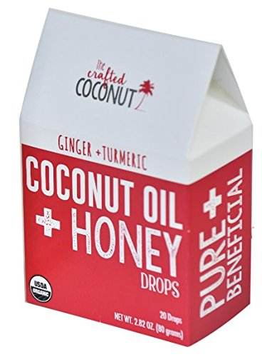 The Crafted Coconut Organic Coconut Oil and Honey Throat Drops | Two Flavors – GINGER + TURMERIC or LEMON | Soothes sore throat and (Dry Organic Honey)