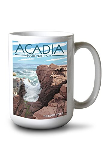 (Lantern Press Acadia National Park, Maine - Thunder Hole Day (15oz White Ceramic Mug))