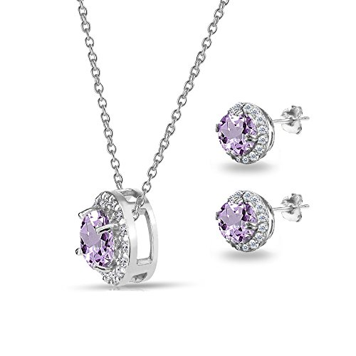 Sterling Silver Genuine, Created or Simulated Gemstone and White Topaz Accents Round Halo Necklace a - http://coolthings.us
