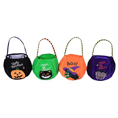 (BAIVIT Halloween Trick Or Treat Bag Traditional Pumpkin Bag Candy Bag Children's Gold Velvet Handbag 4 Piece Set)