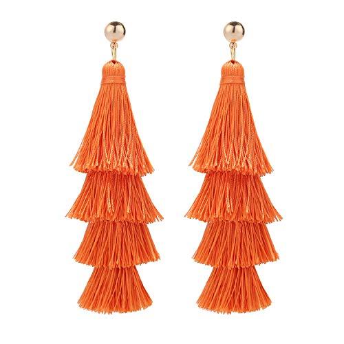 BaubleStar Fashion Gold Tassel Dangle Earrings Layered Long Bonita Tiered Russet Orange Thread Tassel Drop Statement Jewelry for Women Girls B054RO