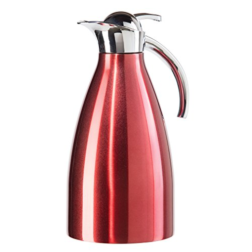Oggi Allegra ( 2.1 Liter/ 68 Oz. ) Thermal Vacuum Carafe with Press Button Top and Stainless Steel Liner-Red