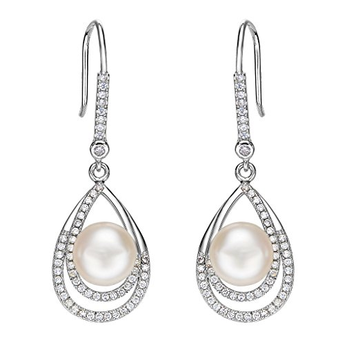EleQueen 925 Sterling Silver CZ Cream Freshwater Cultured Pearl Teardrop Layer Bridal Hook Earrings Clear