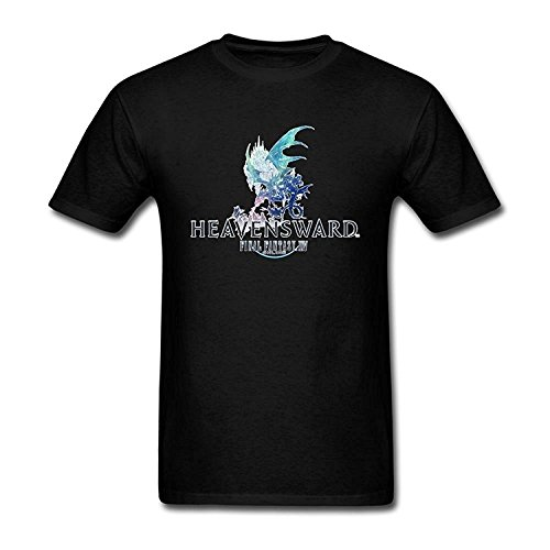 Moon-Tshirt Black Soft Cotton Final Fantasy XIV Heavensward T Shirt (Best Version Of Final Fantasy 6)