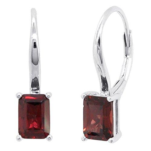 Cut Garnet Dangling Earrings - Sterling Silver Genuine Natural Emerald Cut Mozambique Garnet Leverback Earrings (2 CT.T.W)