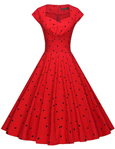 Dress Banded Waist - GownTown Womens Dresses Party Dresses 1950s Vintage Dresses Swing Stretchy Dresses
