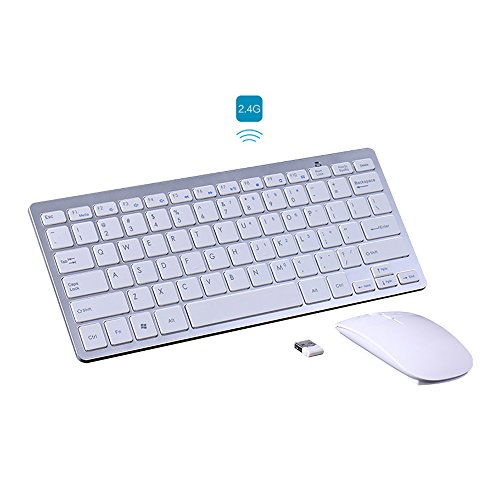 Price comparison product image KINGEAR Wireless Keyboard / Mouse Full-size Whisper-quiet Wireless Keyboards and Mouse for Desktop and Mac in Ergonomic Design