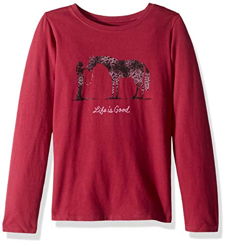 Life is Good Girls Graphic Long Sleeve T-Shirts Crusher Collection,Horse BF,Wild Cherry,Small