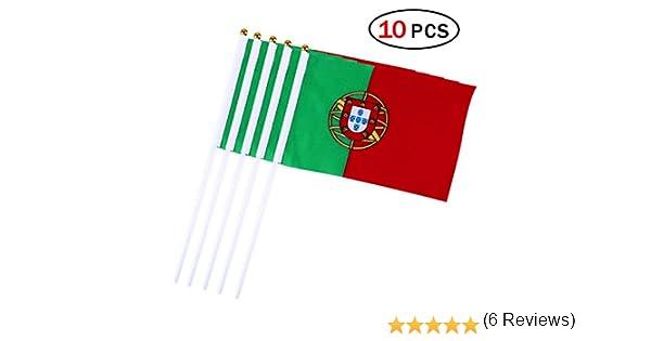 Banderas Pequeñas,Banderas de Mano,Bandera de Portugal con 14 x 21 CM Juego de 10 PCS Mini Bandera Nacional Mini Bandera Portugal: Amazon.es: Deportes y aire libre