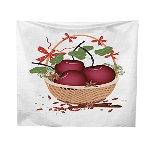 Leighhome Wall Hanging tapestrymandala Wall tapestryBrown Basket of Christmas Apples and Spices 70W x 93L INCH ()