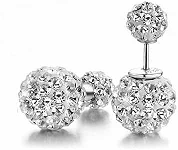 megko Fashion Shamballa Shiny S925 Silver Rhinestones Double Balls 10mm Princess Diamond Stud Earrings