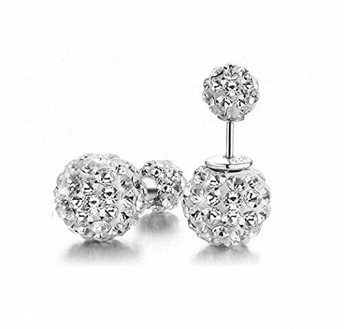 megko Fashion Shamballa Shiny S925 Silver Rhinestones Double Balls 10mm Princess Diamond Stud Earrings (Silver April Ball)