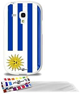 """Carcasa Flexible Ultra-Slim SAMSUNG GALAXY S3 MINI ( I8190 ) de exclusivo motivo [Bandera Uruguay] [Blanca] de MUZZANO  + 3 Pelliculas de Pantalla """"UltraClear"""" + ESTILETE y PAÑO MUZZANO REGALADOS - La Protección Antigolpes ULTIMA, ELEGANTE Y DURADERA para su SAMSUNG GALAXY S3 MINI ( I8190 )"""