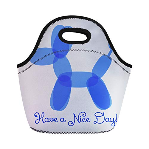 Semtomn Neoprene Lunch Tote Bag Dog Have Nice Day Sincere Wish Cute Balloon Twisting Reusable Cooler Bags Insulated Thermal Picnic Handbag for Travel,School,Outdoors,Work (Balloon Twisting Videos)