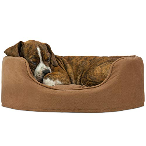 (FurHaven Pet Dog Bed | Oval Terry Fleece & Suede Pet Bed for Dogs & Cats, Camel, Small)