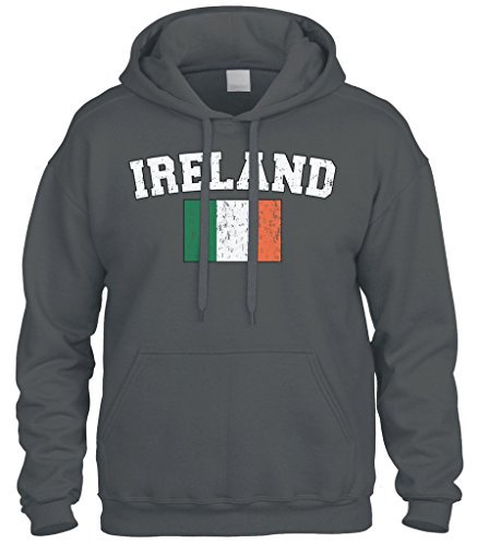 Cybertela Faded Distressed Ireland Flag Sweatshirt Hoodie Hoody (Charcoal, Large)